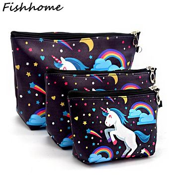 Women Printing Unicorn Three Pieces Cosmetic Bag Waterproof Professional Toiletry Kit Wash Necessaire Travel Make up Bags JXY02
