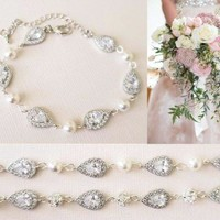 Bridal Bracelet With Swarovski Pearl and Cubic Zirconia