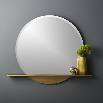 perch round mirror with shelf 36""