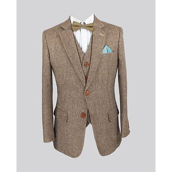Retro Light colored Brown tweed custom made Groom Tuxedos men 3 piece suits slim fit tailor made wedding suits for men