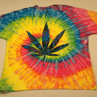 Tie dye weed leaf pot t shirt 420