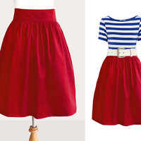Custom red skirt with side pockets by Ananya on Etsy