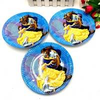 10pcs/lot beauty and beast plates dishes kids birthday party supplies beauty and beast plates dish happy birthday party supplies