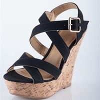 Simple Strap Cork Wedges - Black from Sandals at Lucky 21