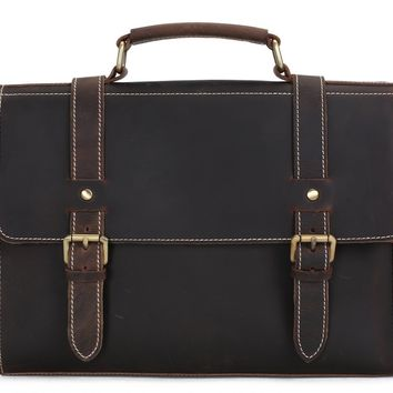 BLUESEBE MEN HANDCRAFTED VINTAGE LEATHER SATCHEL/MESSENGER BAG 12007