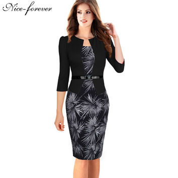 Nice-forever One-piece Faux Jacket Brief Elegant Patterns Work dress