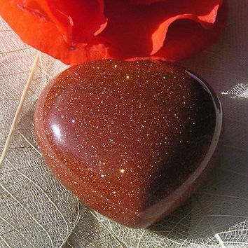 Brown Goldstone Solid Gemstone Crystal Puffy Heart - 40mm
