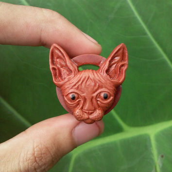 A pair of Sphinx Cat wood tunnel, ear gauges, carved wood plug, organic body jewelry, ear plugs gauges, wood plugs, gauge earrings.