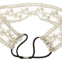 niceeshop(TM) Vintage Sweet Lace Flower Pearl Wide Elastic Headband Bridal Headpiece,Creamy White