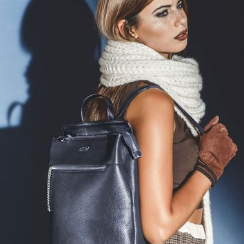 Anna-Textured Leather Backpack Purse-Navy Blue