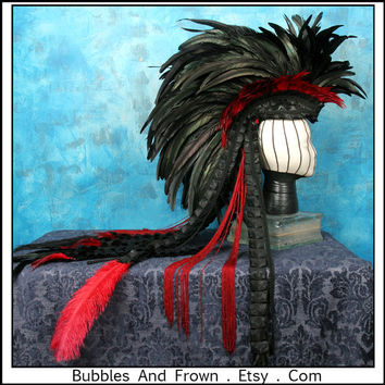 Red Moon..... Feather Mohawk in Reds with Deconstructed Tapestry Train