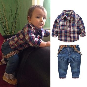 Baby Boy T-shirt with Plaid Coat and Denim Pants 3pc set