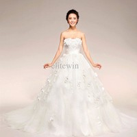 Wholesale Wedding Dresses - Buy Strapless Flower Ruffle Dropped Waist Fluffy Court Cheap 2013 Sexy Beach Wedding Dresses Bridal Gown Red White, $177.18 | DHgate