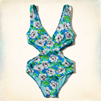 Floral Print One-Piece Swimsuit
