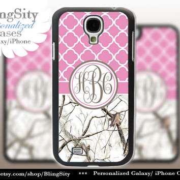 Monogram Galaxy S4 case S5 Real White Tree Camo Pink Quatrefoil Personalized Samsung Galaxy S3 Case Note 2 3 Cover Country Girl