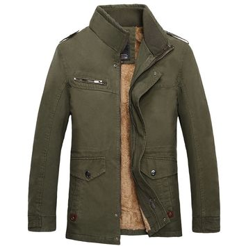 Autumn Winter Casual Stand Collar Military Style Hombre Warm Medium Long Winter Men Parka Thick