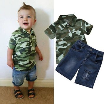 Newborn Toddler Infant Kid Baby Boys Clothes Summer Short Sleeve T shirt Top Denim Pants Military Outfit Set Clothes