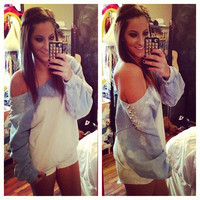 Studded Dip Dyed Ombre Blue and White Off Shoulder Sweatshirt Size Large