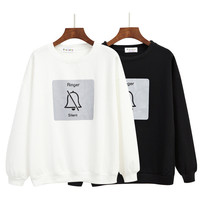 iPhone Ringer On Silent Harajuku Style Korean Winter Sweatshirts Womens Girlfriends Bell Printed Round Neck Kawaii White & Black Sweater