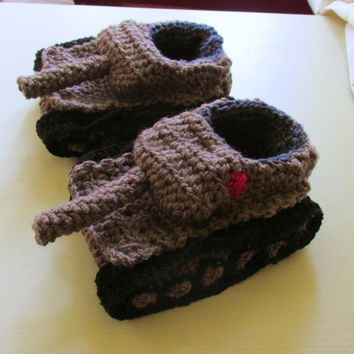 Crochet tank slippers russian tank shoes tiger 1 tank slippers  green crochet accessories tank armored truck shoes