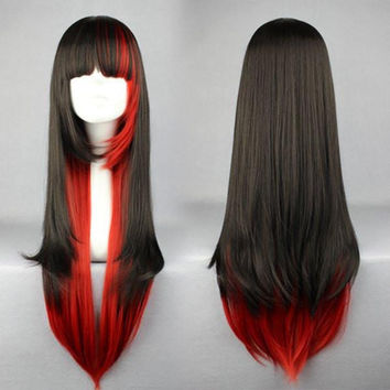 70cm LOLITA WIG Long Red and Black Beautiful Lolita/zipper wig Anime Wig,Colorful Candy Colored synthetic Hair Extension Hair piece 1pc WIG-280A
