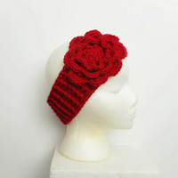 Crochet Winter Ear Warmer Headband in Red with Large Rose, ready to ship.