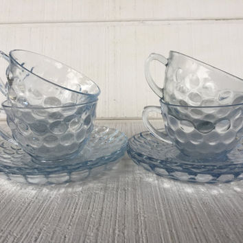 Vintage Blue bubble Glassware, Anchor Hocking Blue Bubble Cup and Saucer- Blue Depression Glass, 1940's Glassware, Blue Tea cup and saucer