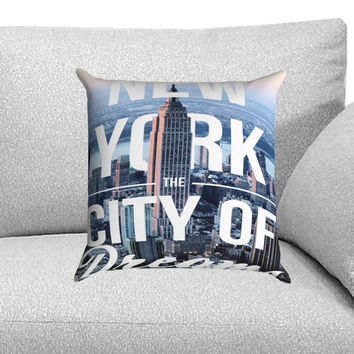 New York The City of Dreams Custom Pillow Case for One Side and Two Side