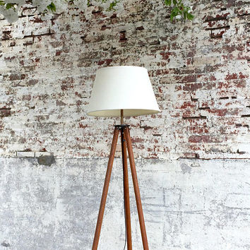 David White Tripod, Wood Tripod Lamp, Surveyor's Tripod, Tripod Floor Lamp, Industrial Floor Lamp, Reclaimed Lighting, David White Mod 9024