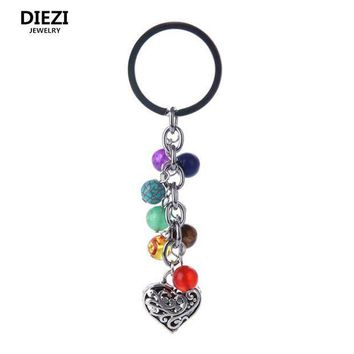 PEAP78W DIEZI 8mm Fashion Multicolor Yoga Healing Natural Stone 7 Chakra Pray Keychain Car Key Chain Ring Owl Heart Pendant For Bag