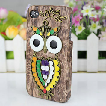 Cute Owl wood grain Hard Case Cover  for iPhone 4 Case, iPhone 4 Cover, iPhone 4s Case,iPhone Cover