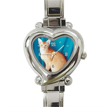 Oriental Cat Heart Italian Charm Watch