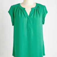 ModCloth Mid-length Short Sleeves Most Lightly to Succeed Top in Green