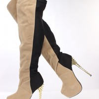 Light Beige Faux Suede Two Tone Thigh High Boots