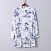 Coconut Print Collar Longline Shirt