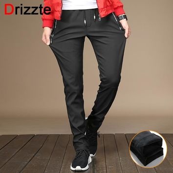 Drizzte Mens Winter Fleece Stretch Zipper Pocket Casual Pants Flannel Lined Black Grey Trousers Casual Slacks Pants Young
