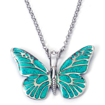 Romantic Jewelry -  Handmade Polymer Clay Butterfly Necklace - Turquoise Millefiori Pattern - FREE SHIPPING