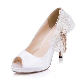 Amazing White Satin High Heels Wedding Shoes With Bow And Chains 2017 Elegant Br