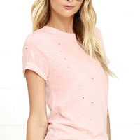 In the Raw Distressed Peach Tee