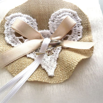 Ivory and Burlap Ring Pillow, Heart & Bow, Rustic Ring Bearer Pilow for Lace and Burlap Weddings, Ivory Country Weddings, Burlap Shabby Chic