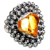 Citrine Abstract Heart Ring Signed 925 Sterling Silver Arts Craft Design Sz 8 NOS