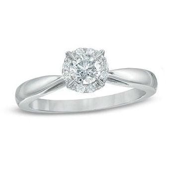 3/8 CT. T.W. Diamond Frame Engagement Ring in 14K White Gold - View All Rings - Zales