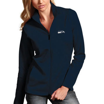 Women's Seattle Seahawks Antigua College Navy Leader Full Zip Jacket