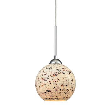 10741/1 Spatter 1 Light Pendant In Polished Chrome With Spatter Mosaic Glass - Free Shipping!