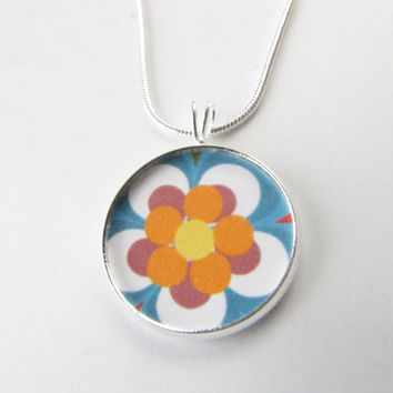 Retro Flower necklace-flower power,vintage flowers,colorful