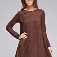Micro Suede Tunic Dress - Brown