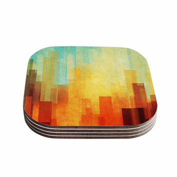 "Cvetelina Todorova ""Urban Sunset"" Teal Geometric Coasters (Set of 4)"