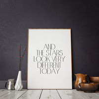 "Inspirational poster Motivational quote Wall artwork Typographic print Typographic art David Bowie ""The Stars Look Very Different Today"""