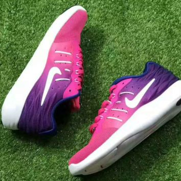 Nike Lunarstelos Fashion Men Running Sport Casual Shoes mesh Sneakers Purple Roes Gradient G-CSXY