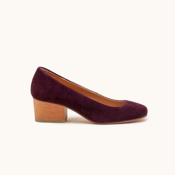 A Détacher Eleanor Pump in Bordeaux Suede - Mohawk General Store